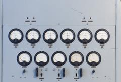 Old instrument panel - stock photo