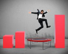 Jump between statistics - stock photo