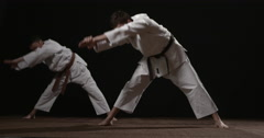 Two Judoka's warming up 2 Stock Footage