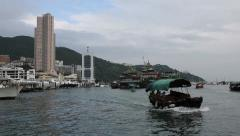 Traditional junks and yachts in the Aberdeen Bay, Hong Kong Stock Footage