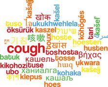 Cough multilanguage wordcloud background concept - stock illustration