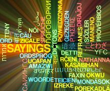 Sayings multilanguage wordcloud background concept glowing - stock illustration