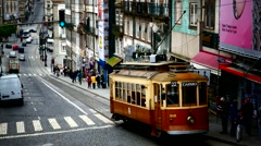 Portugal Porto Oporto Traffic nostalgic Tram moving in downtown - stock footage