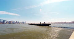 People Boarding Ferry boat to Statue of Liberty Time Lapse 4K - stock footage