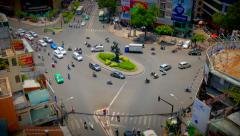 Busy Traffic, Roundabout in Ho Chi Minh City (Saigon) - stock footage