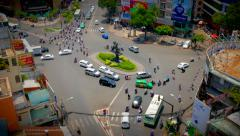 Busy Traffic, Roundabout in Ho Chi Minh City (Saigon), time-lapse Stock Footage