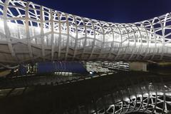 View of Webb Bridge in Docklands, Melbourne at night - stock photo