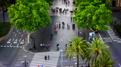 Las Ramblas, Barcelona Panorama, Tile Shift, Stop Motion, Spain Stock Footage