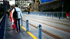 Portugal Porto Oporto metro subway train passing bridge Ponte Luis I Stock Footage