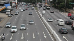 Traffic. Bandeirantes avenue, Sao Paulo, Brazil. Real time. 9 Stock Footage