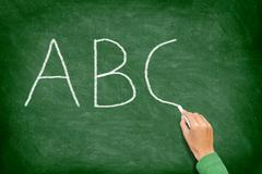 ABC, education and primary school blackboard Kuvituskuvat