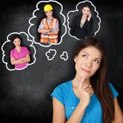 Education and career - student thinking of future - stock photo