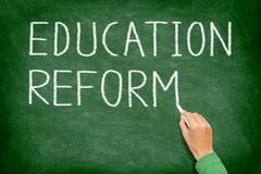 Education reform - school reform blackboard - stock photo