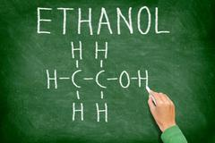 Ethanol alcohol chemical molecule structure - stock photo