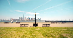 Tourists at Liberty State Park Manhattan View Time Lapse 4K Stock Footage