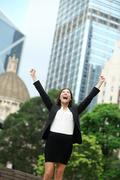 Business achievements success businesswoman celebrating - stock photo