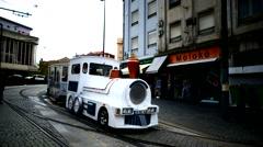 Portugal Porto Oporto nostalgic Tour Train in city downtown - stock footage
