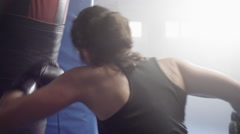 Female boxer training in boxing club slow motion - stock footage