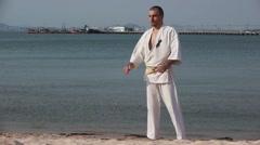 Karate Kimono Male Fighter Winner Victory slow-motion Stock Video Footage - stock footage