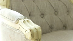 Ornament of an upholstered, vintage armchair, dolly Stock Footage
