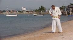 Single Combat Motion Slow Karate Kimono Stock Video Footage - stock footage