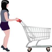 Stock Illustration of woman with shopping cart intent to shop