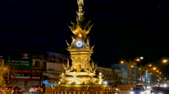Golden Clock Tower, Chiang Rai, Thailand Stock Footage