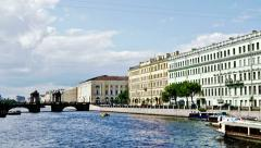 Time lapse of Fontanka River, St Petersburg, Russia Stock Footage