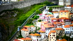 Portugal Porto Oporto Funicular do Guindais cable car Stock Footage