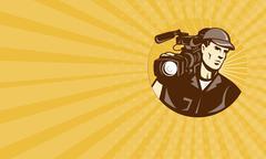 Business card Cameraman Film Crew Pro Video Movie Camera - stock illustration