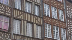 Northern France Normandy and Brittany charasteristic old building   facades 4K Stock Footage