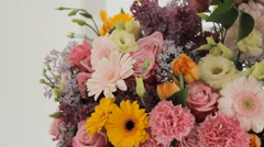 Florists make a huge bouquet from a variety of colorful flowers Stock Footage