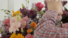 Huge spring bouquet of lilacs, roses, chrysanthemums, gerberas and carnations Stock Footage