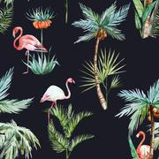 Watercolor palm pattern Stock Illustration