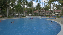 Swimming in the pools at Vista Sol Hotel, Dominican Republic Stock Footage