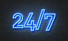 24/7 open concept neon sign Stock Illustration