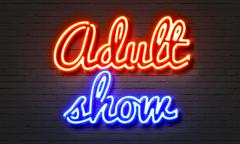 Adult neon sign Stock Illustration