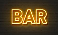 Bar neon sign Stock Illustration