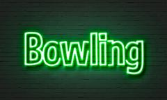 Bowling neon sign Stock Illustration
