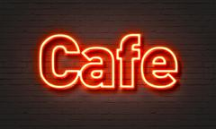 Cafe neon sign - stock illustration