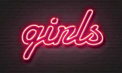 Hot girls neon sign Stock Illustration