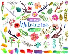 Watercolor aquarelle flowers and leaves. - stock illustration