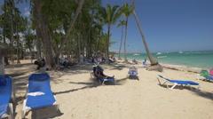 Relaxing and sleeping on Playa Bavaro, Dominican Republic Stock Footage