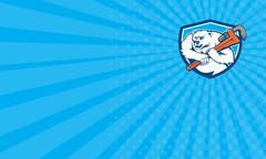 Business card Polar Bear Plumber Monkey Wrench Shield Cartoon Stock Illustration