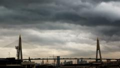 Storm clouds passing over city of Bangkok skyline. 4K UHD time lapse. Stock Footage