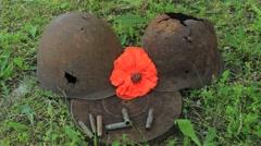 Red poppy near the helmets Stock Footage