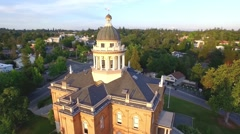 Aerial footage of the historic placer county superior court building in Auburn Stock Footage