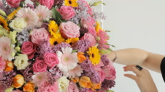 Close-up of a huge bouquet consisting of lilacs, roses, tulips, lilies Stock Footage