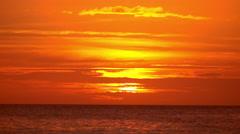 Amazing orange colors of tropical sunset. Ocean horizon at Boracay, Philippines Stock Footage