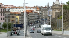4K Portugal Porto Oporto Traffic at metro Sao Bento area Stock Footage